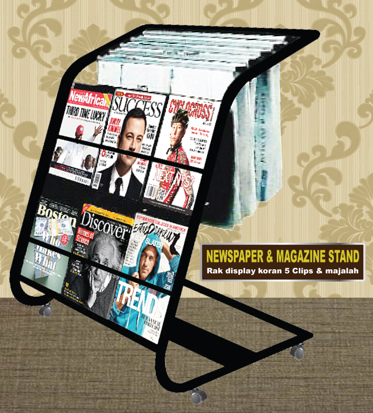 Newspaper Stand With Magazine Stand 5 Clips 611