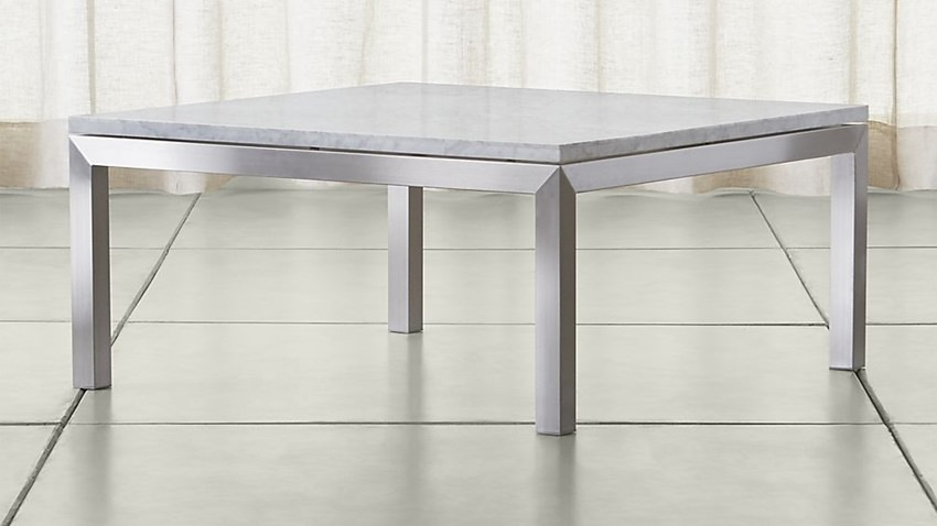 Meja kopi persegi stainless steel top table custom (marmer, granit, kaca, dan full stainless)