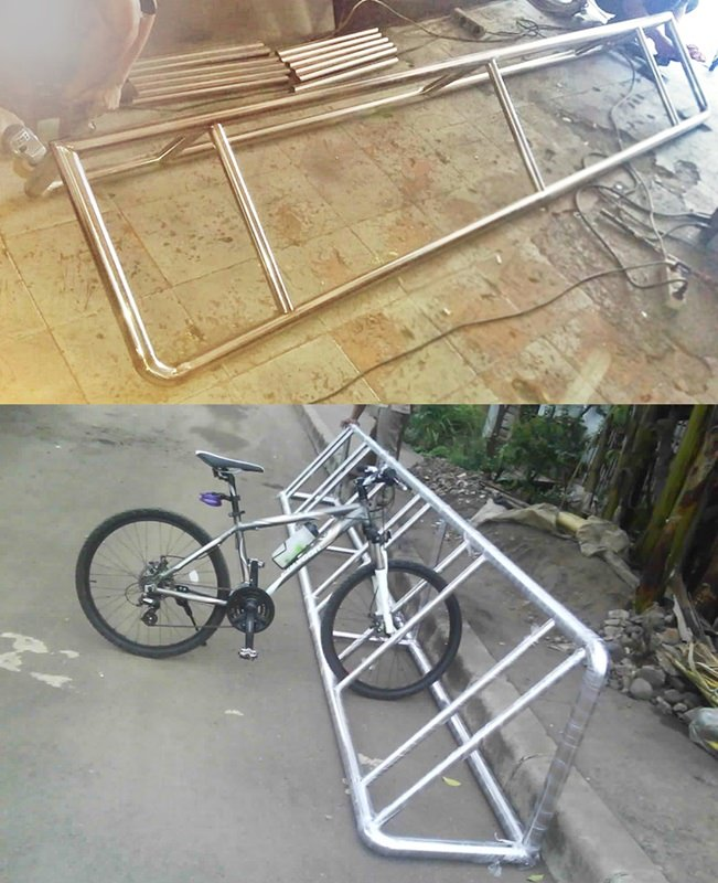 Dokumentasi produksi bicycle rack stainless steel