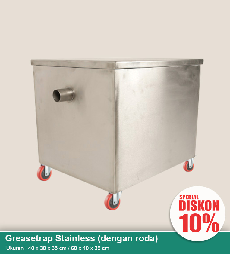 Grease trap stainless dengan roda (penjebak lemak wastafel)