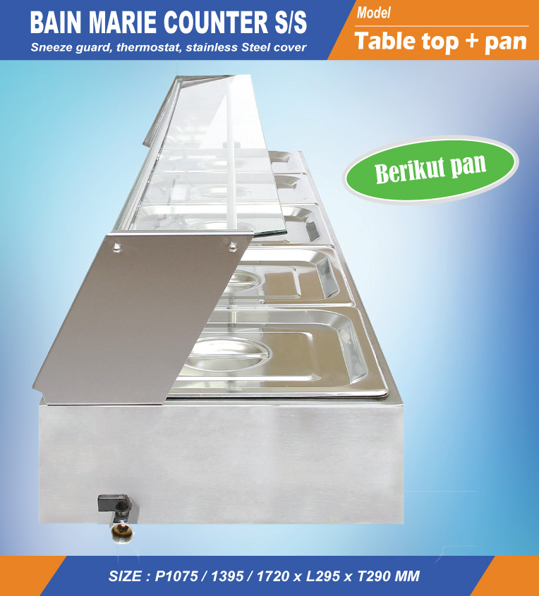 Counter top bain marie stainless + Pen