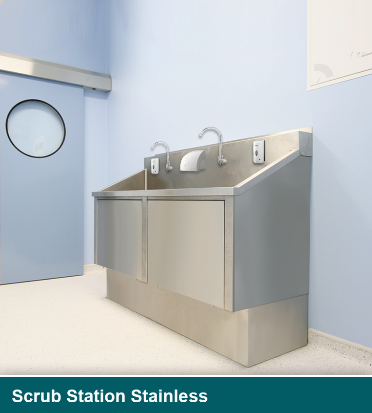 Stainless steel surgical scrub sink (scrub station stainless)