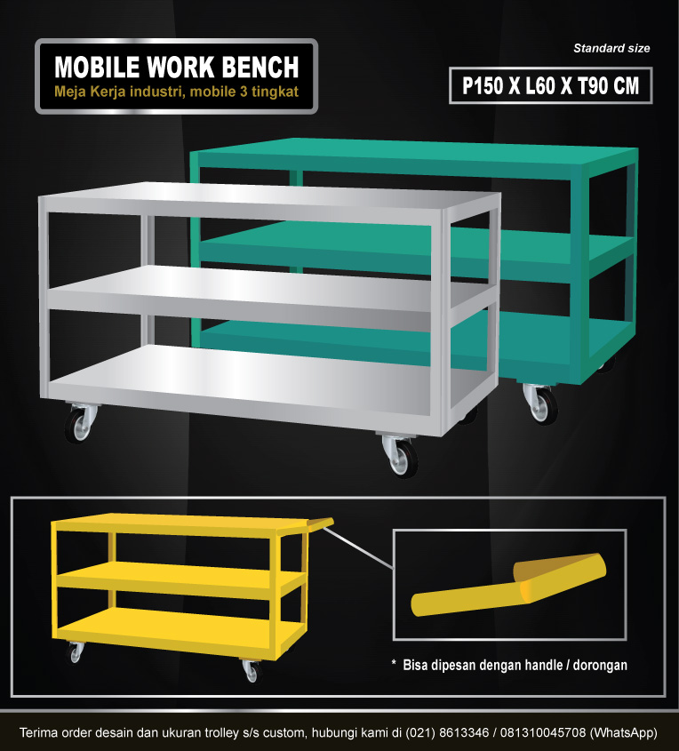 Mobile work bench (meja kerja mobile kokoh & awet)