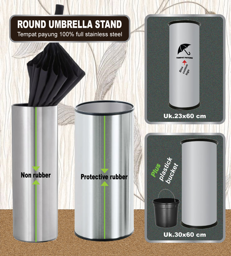 Umbrella's pot with protective rubber (tempat payung stainless)