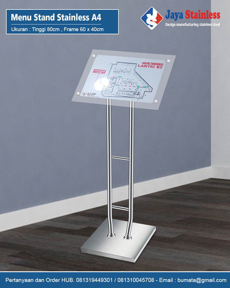 Menu Stand Stainless A4 - Tiang display A4