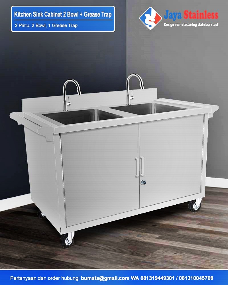 Kitchen Sink Cabinet 2 Bowl + Grease Trap