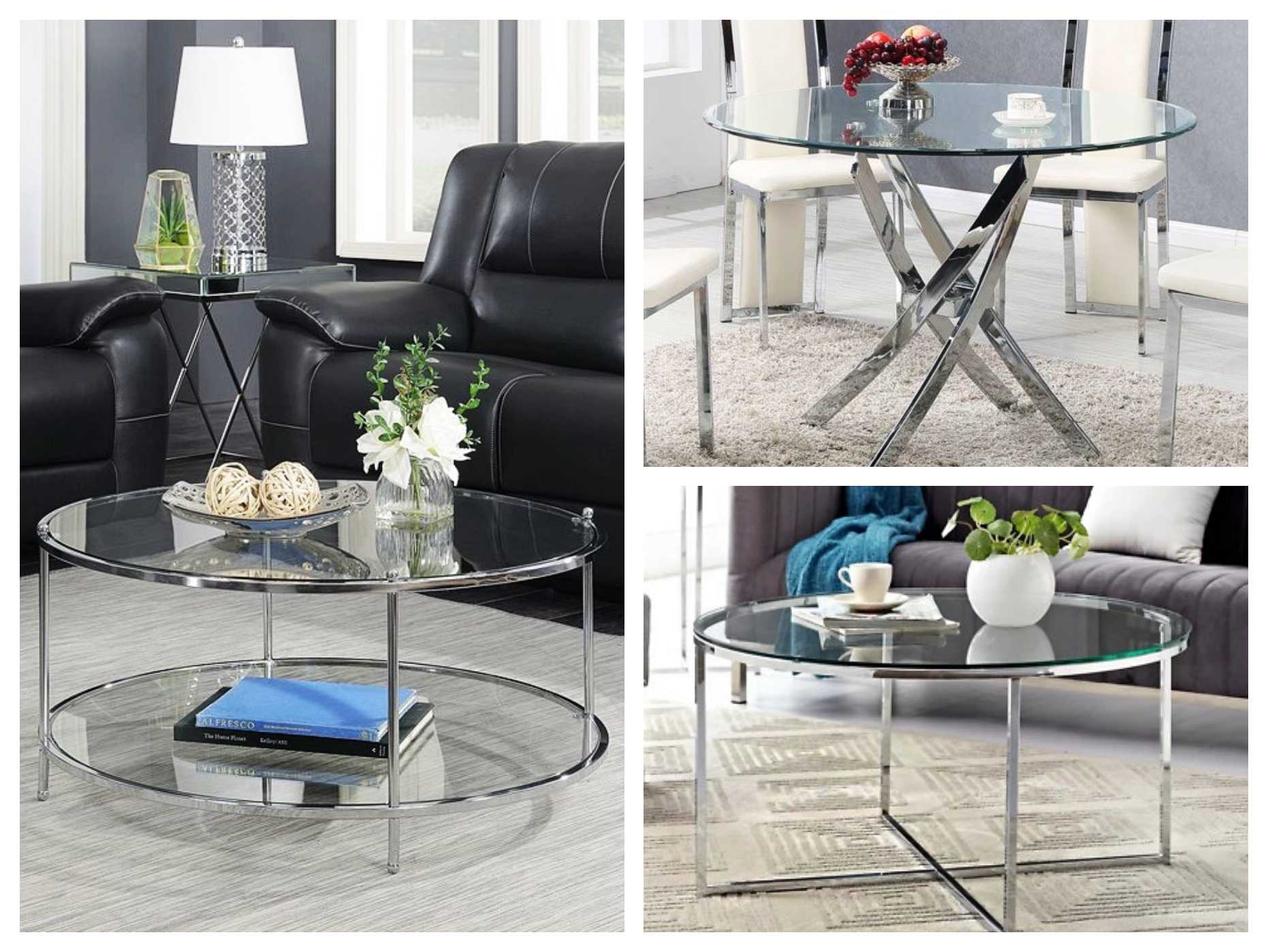 Meja stainless steel mewah top table kaca