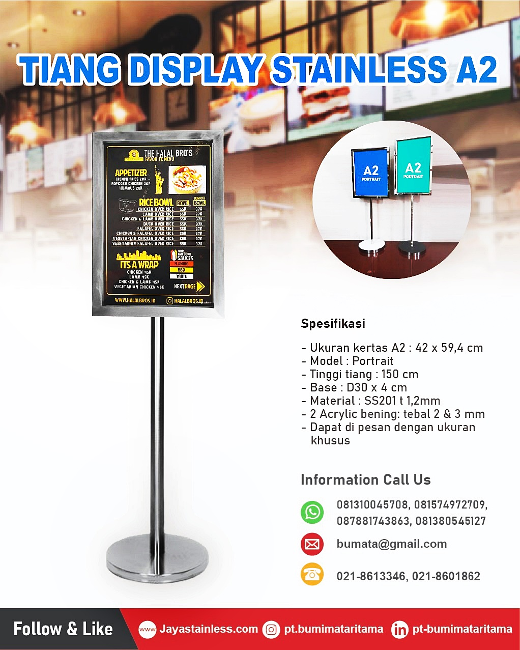 Tiang display 150cm stainless steel